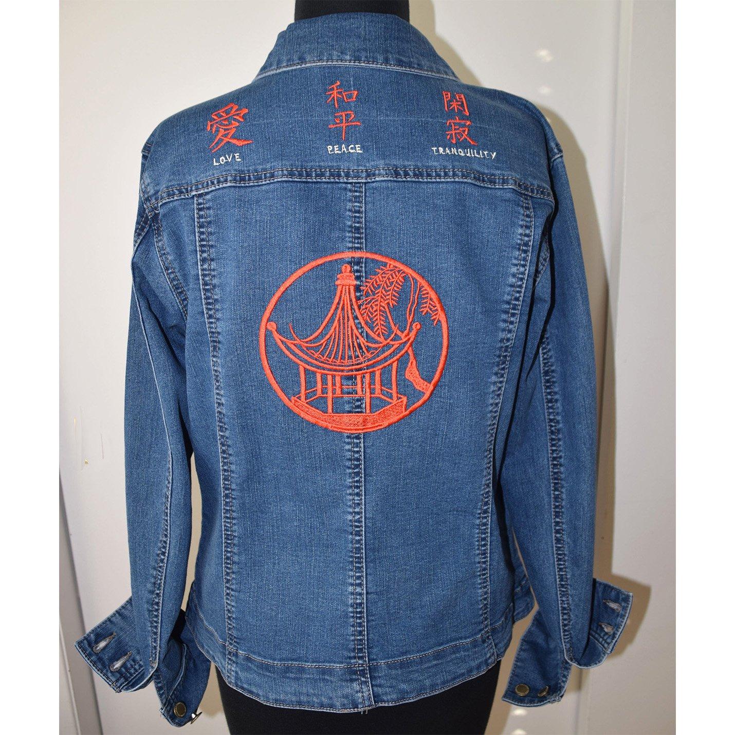 Asian Embroidered Denim Stretch Jacket