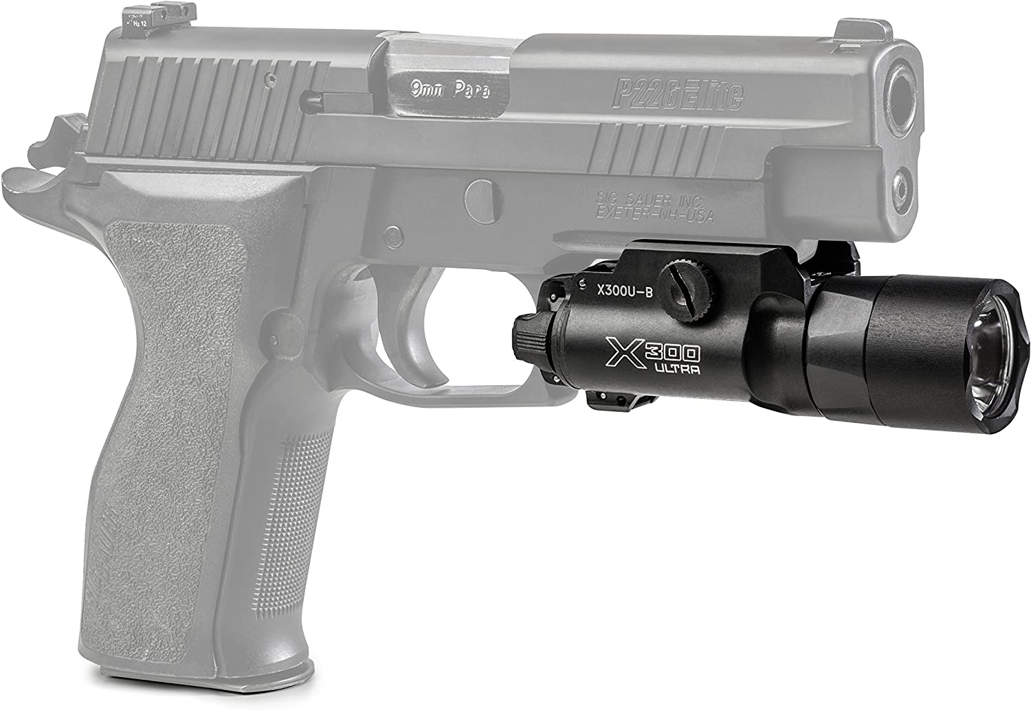 This is an image of a pistol with pistol light attached below, in black color.