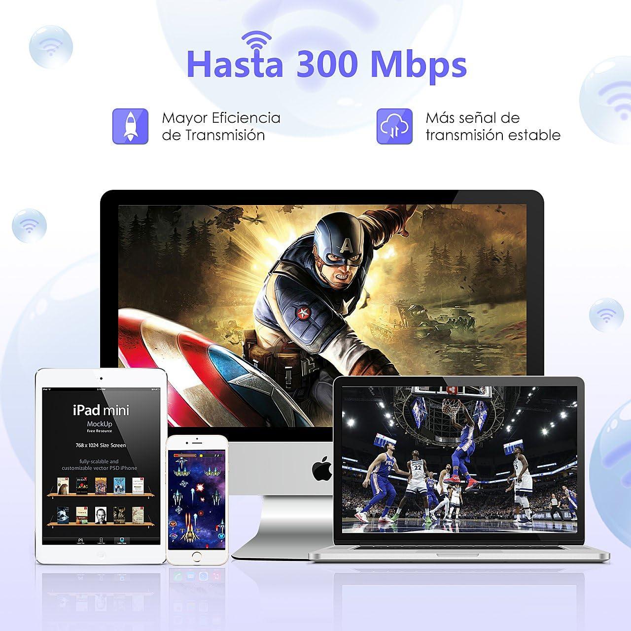 VicTsing Adaptador Antena WiFi USB de Largo Alcance 300Mbps ...