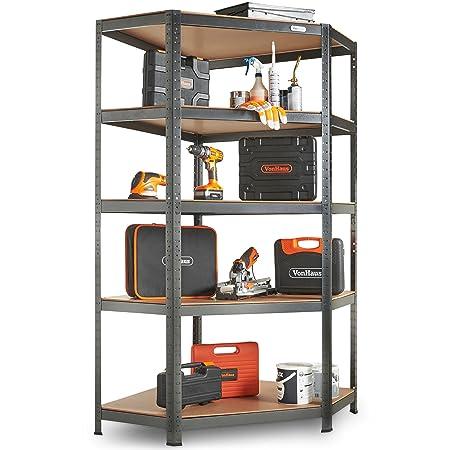 vonhaus 5 tier garage shelving corner unit metal racking steel rh amazon co uk corner unit bookshelves corner desk unit with shelves