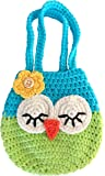 Sleepy Owl Mini Purse, For Age 3, 4, 5 Year Old Girls Gifts, Cute Blue & Green Little Handbag, Handmade Crochet, Soft Yarn Wristlet, Dress-Up & Play, She'll Love Her Birthday Gift!