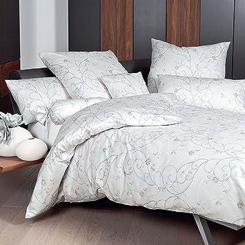 Janine Bettwäsche Interlock Jersey Weiß Silber Größe 135x200 Cm