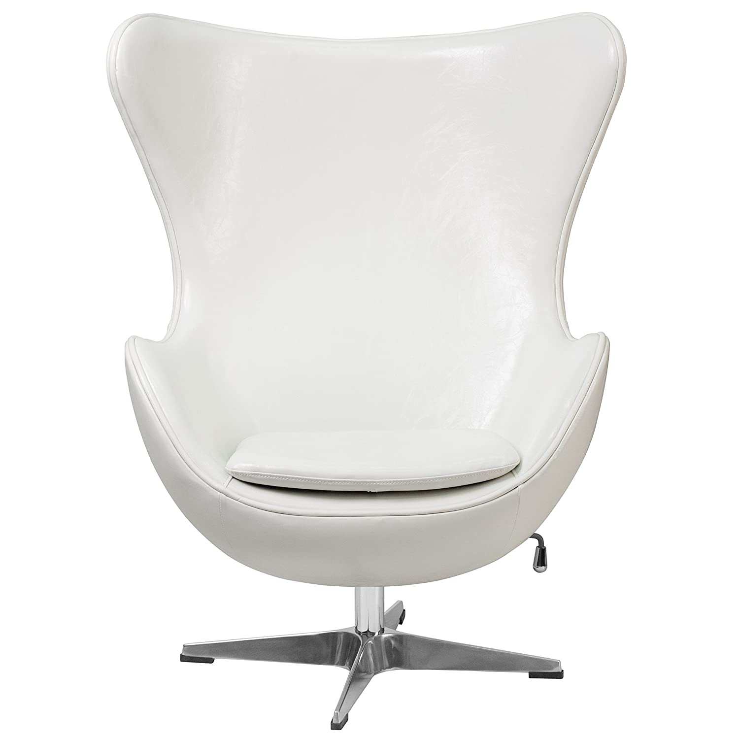 Amazon Flash Furniture Melrose White Leather Egg Chair with