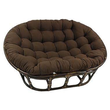 Blazing Needles Solid Twill Double Papasan Chair Cushion, 48  x 6  x 65 , Chocolate