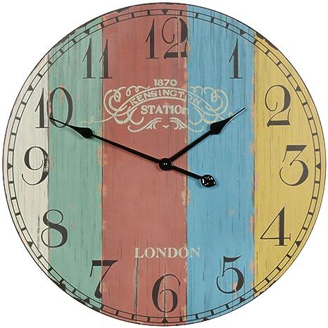 Retro Wand Uhr Zahnräder Design Analog Zeit Holz Dekoration römische Ziffern