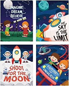 Outer Space Wall Decor for Kids Room, Rocket Art Prints for Boy Bedroom,4pcs Planet Theme Posters for Nursery Decorations, 8X10 Astronaut Pictures for Playroom(unframed)