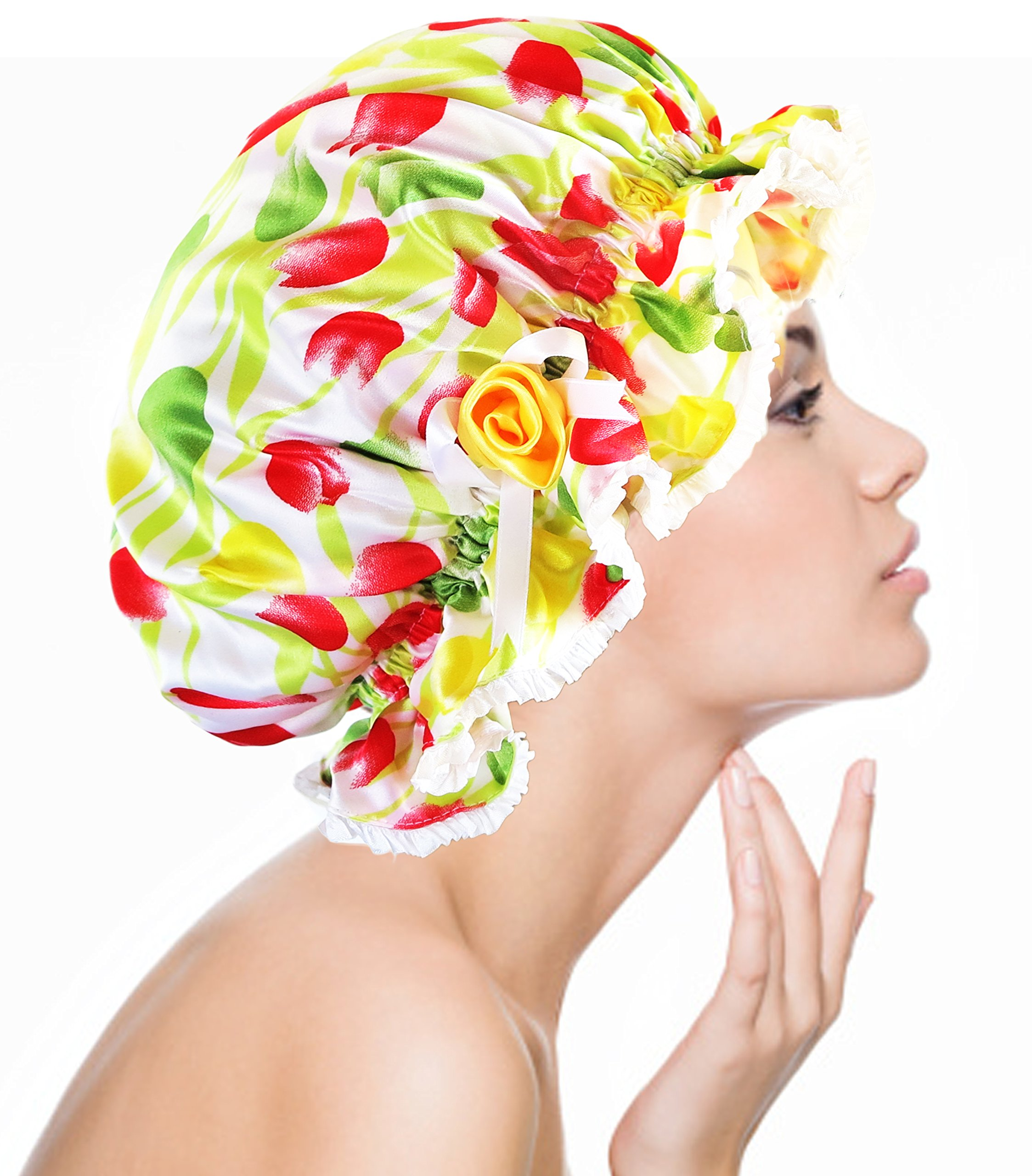 Silk Charmeuse Quick Dry Non Toxic Plastic Liner Shower Cap Handcrafted In US -One Size