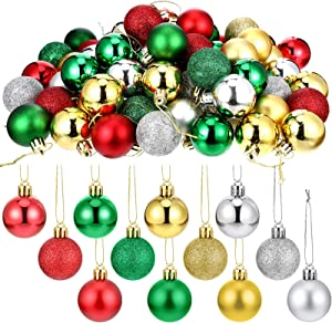 96 Pieces Christmas Balls Xmas Tree Ornaments Shatterproof Hanging Balls Exquisite Colorful Ball Decoration Pendant for Holiday Party Decor (1.57inch)