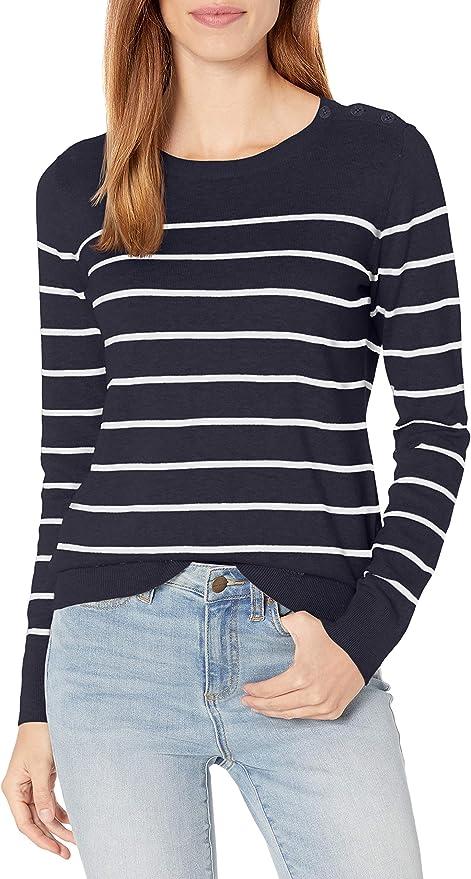 Nautica Women's Year-Round Long Sleeve100% Cotton Striped Crewneck Sweater