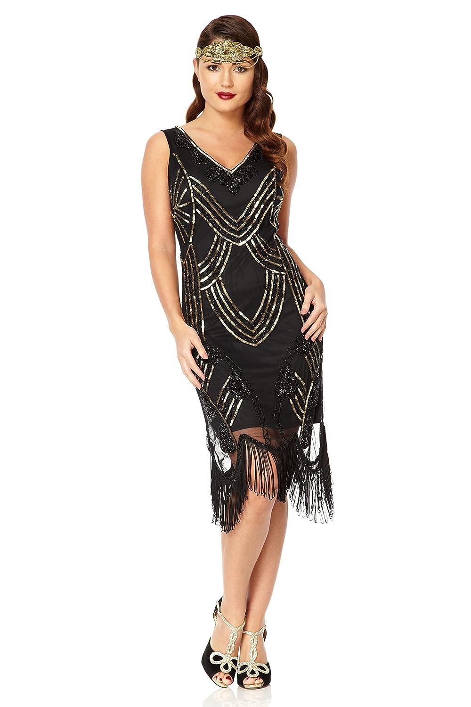Gatsbylady Juliet 1920's Vintage Inspired Fringe Dress in Black Gold