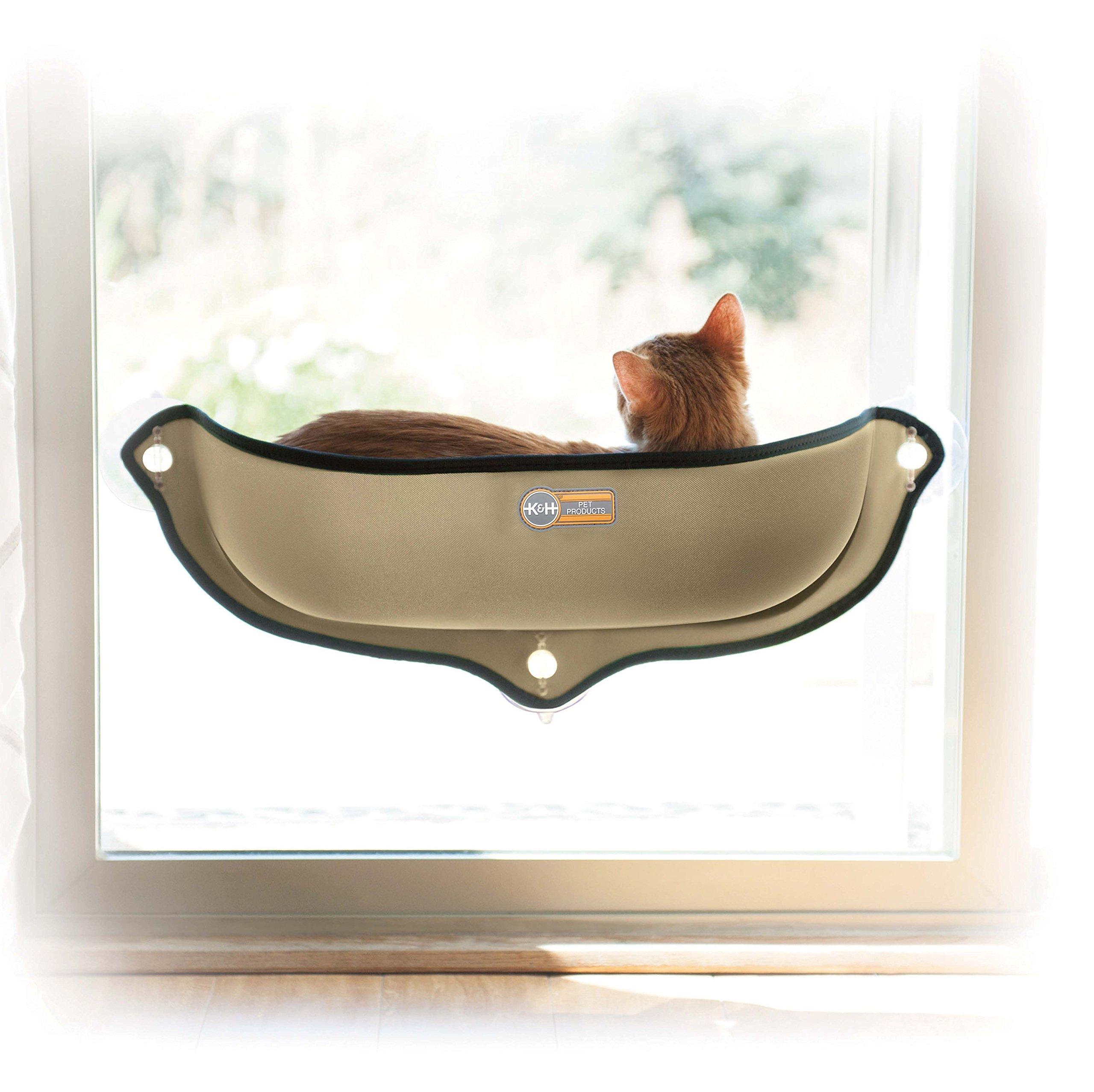 K&H Pet Products EZ Mount Window Bed Kitty Sill Tan 27'' x 11''