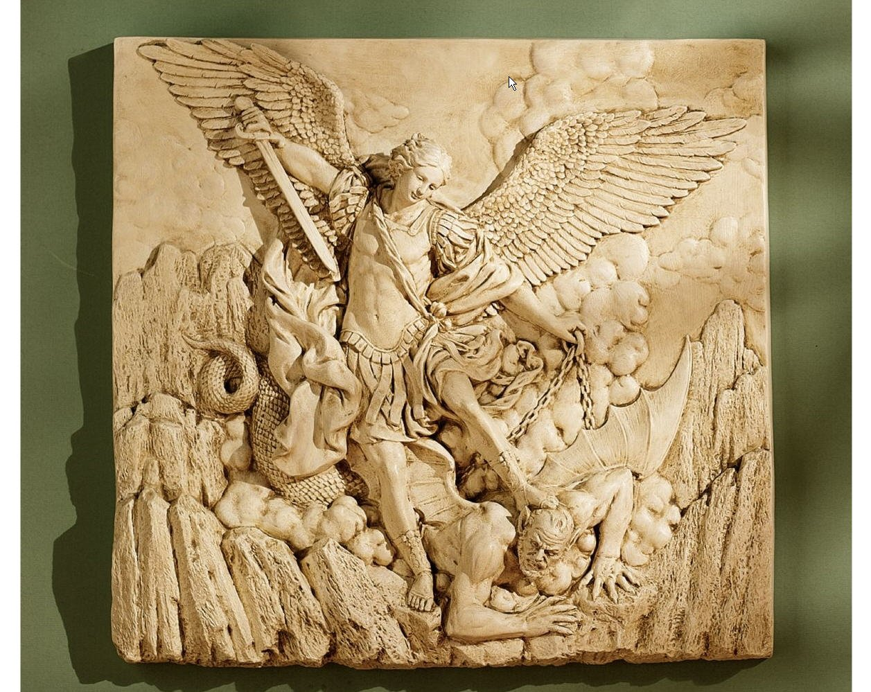 Winged Classic Archangel St. Michael Sculptural Wall Frieze Decor Christian Art After the 1636 Painting By Guido Reni