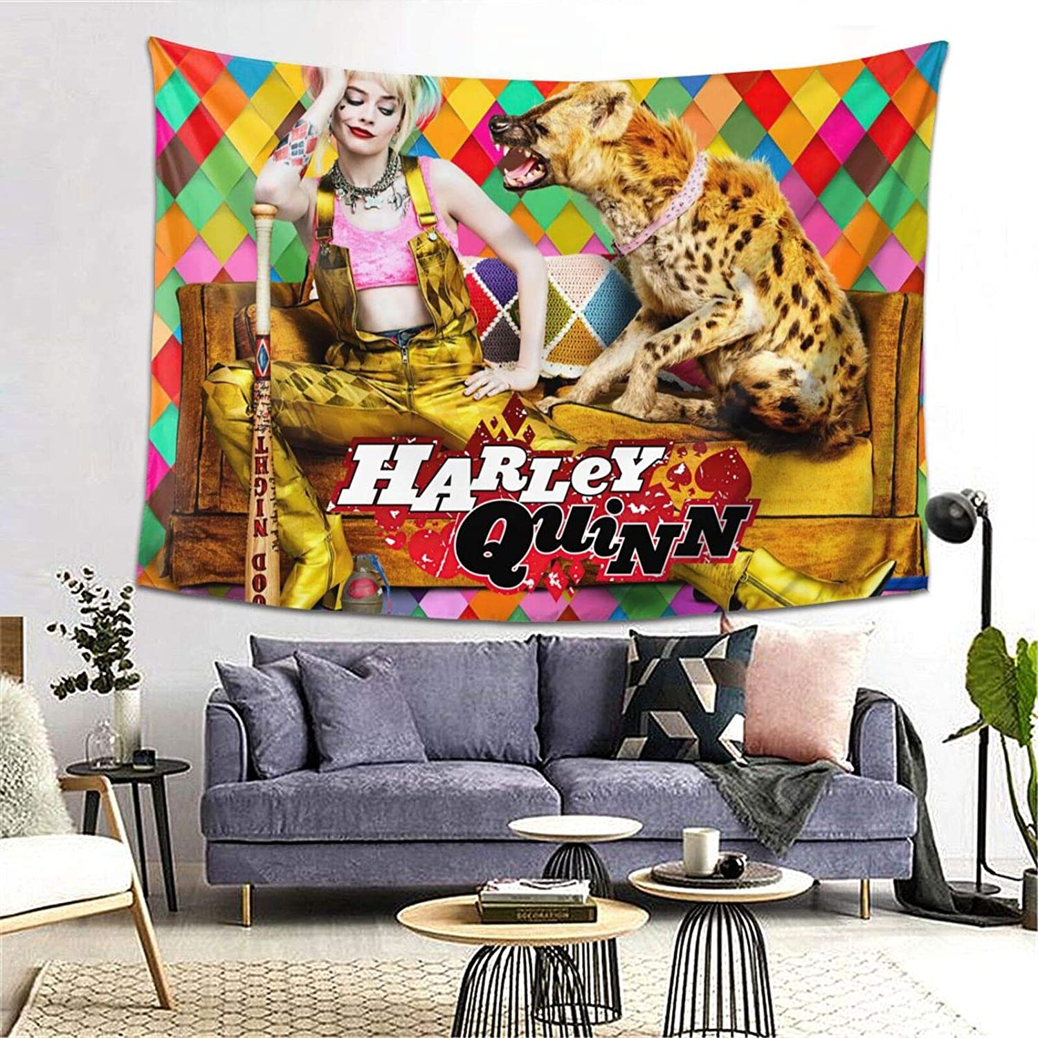 CNAOWHG Harley Fashion Q-uinn Tapestries Wall Art Hanging Tapestry Fashion Table Cloth Picnic Blanket Curtain for Bedroom Dorm Room Above Bed Queen Bed Windows Decor 80''x60''