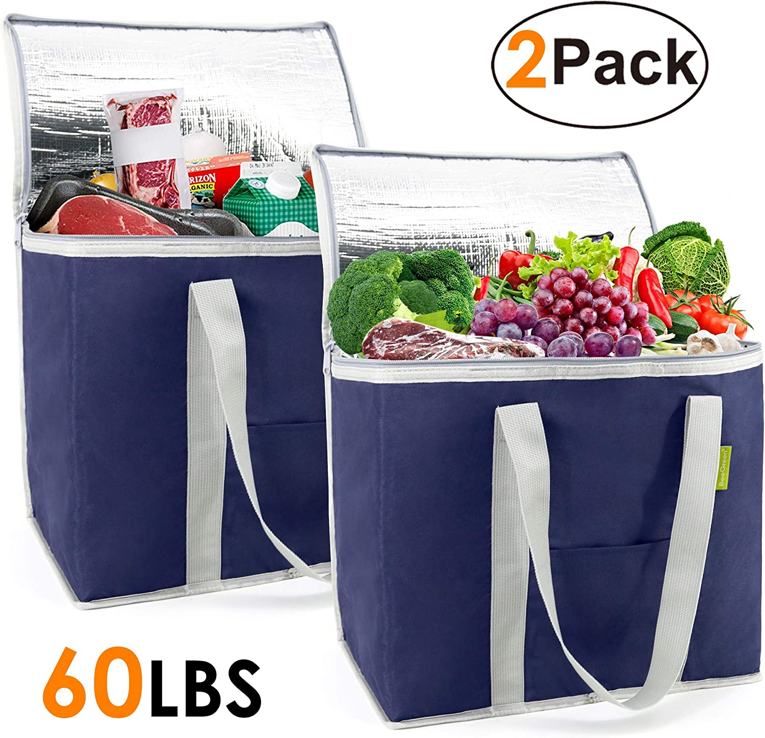 Insulated-Grocery-Bag-Thermal-Cooler-Shopping-Tote 2 Pack X-Large 60LBS Reusable and Durable with Zipper Top Collapsible for Hot Cold Frozen Food Transport Blue