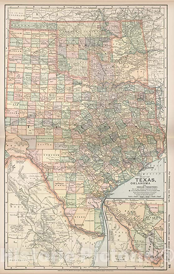 Amazon.com: Historic Map | Map of Texas, Oklahoma and Indian ...