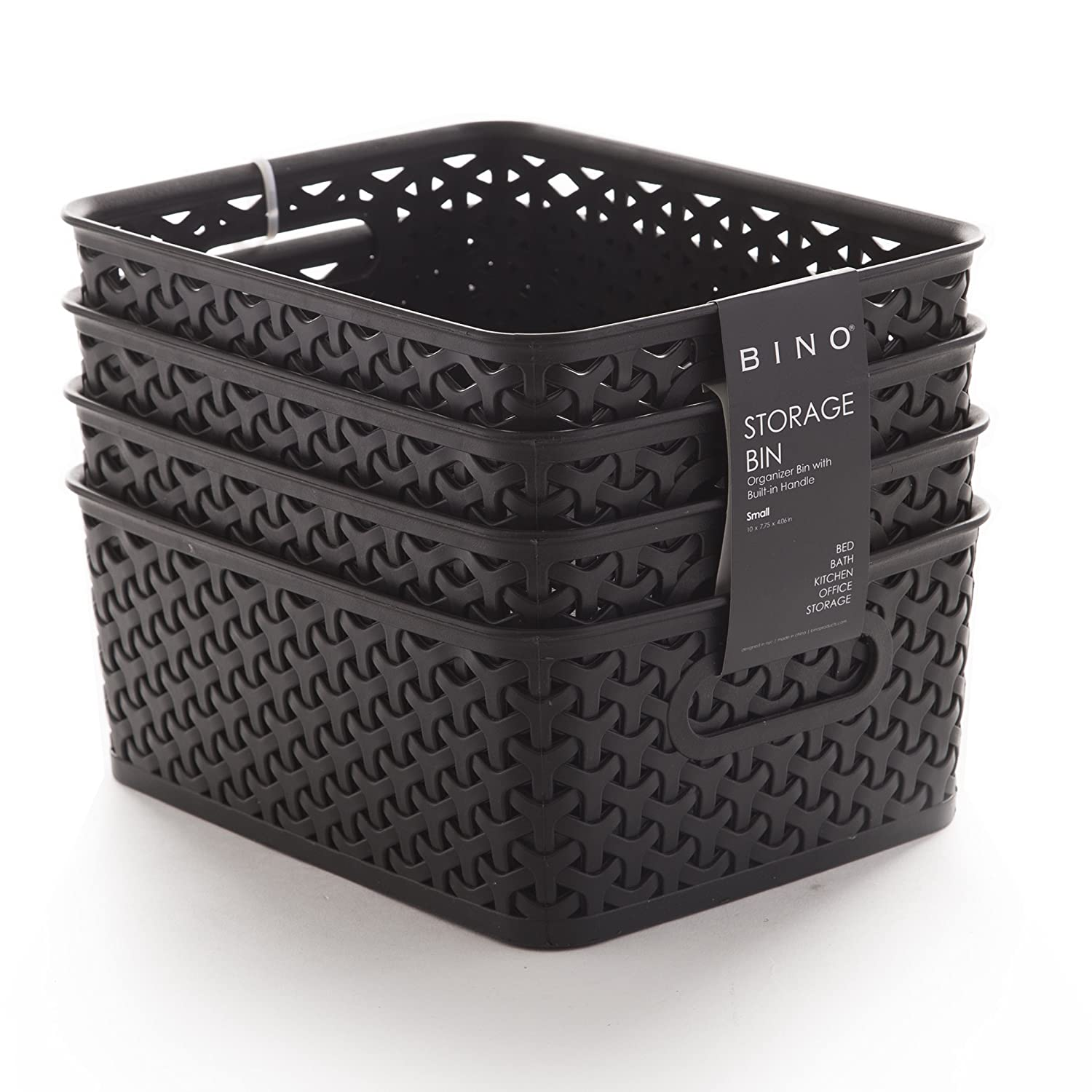 BINO Woven Plastic Storage Basket, Large – 2 Pack (Black) Large – 2 Pack (Black) 11044-BLK