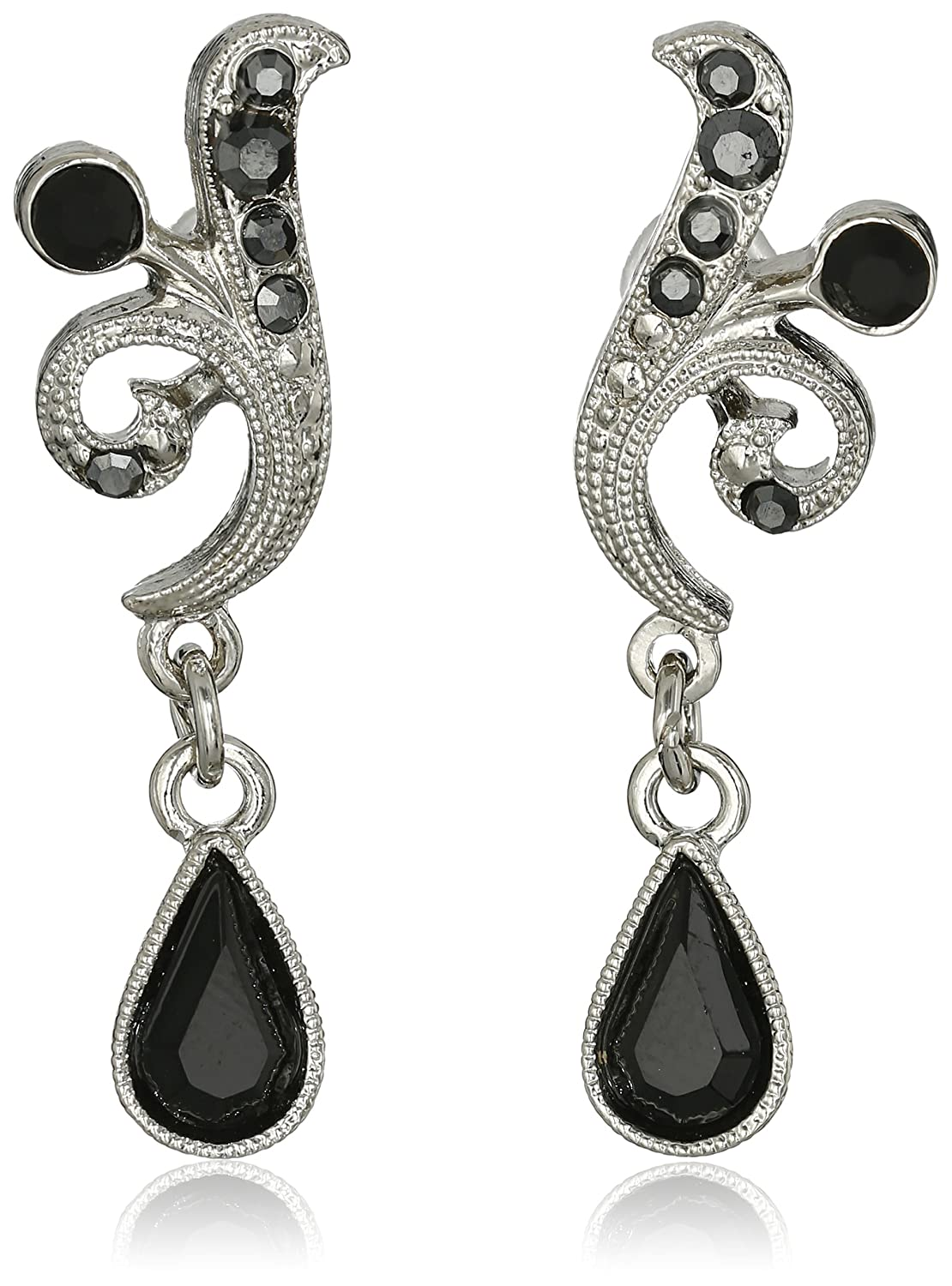 1920s Gatsby Jewelry- Flapper Earrings, Necklaces, Bracelets 1928 Jewelry Silver-Tone Black and Hematite Color Crystal Vine Drop Earrings $21.00 AT vintagedancer.com