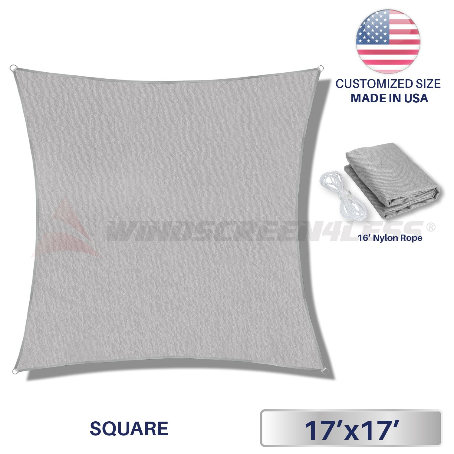 17' x 17' Sun Shade Sail UV Block Fabric Canopy in Light Grey Square for Patio Garden Customized Size 3 Year Limited Warranty
