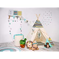 """Teepee Tent for Kids indoor and outdoor- Comes with a Set of Two Pillow and Floor Mate"""" Indian Adventure"""""""