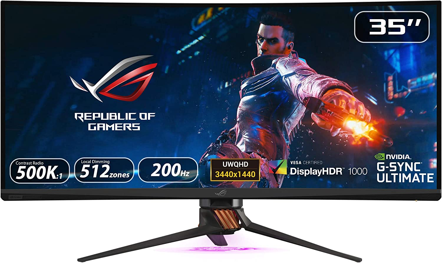 """Asus Rog Swift PG35VQ 35"""" Curved HDR Gaming Monitor 200Hz (3440 X 1440) 2ms G-Sync Ultimate Eye Care DisplayPort HDMI USB Aura Sync HDR10 Display HDR 1000"""