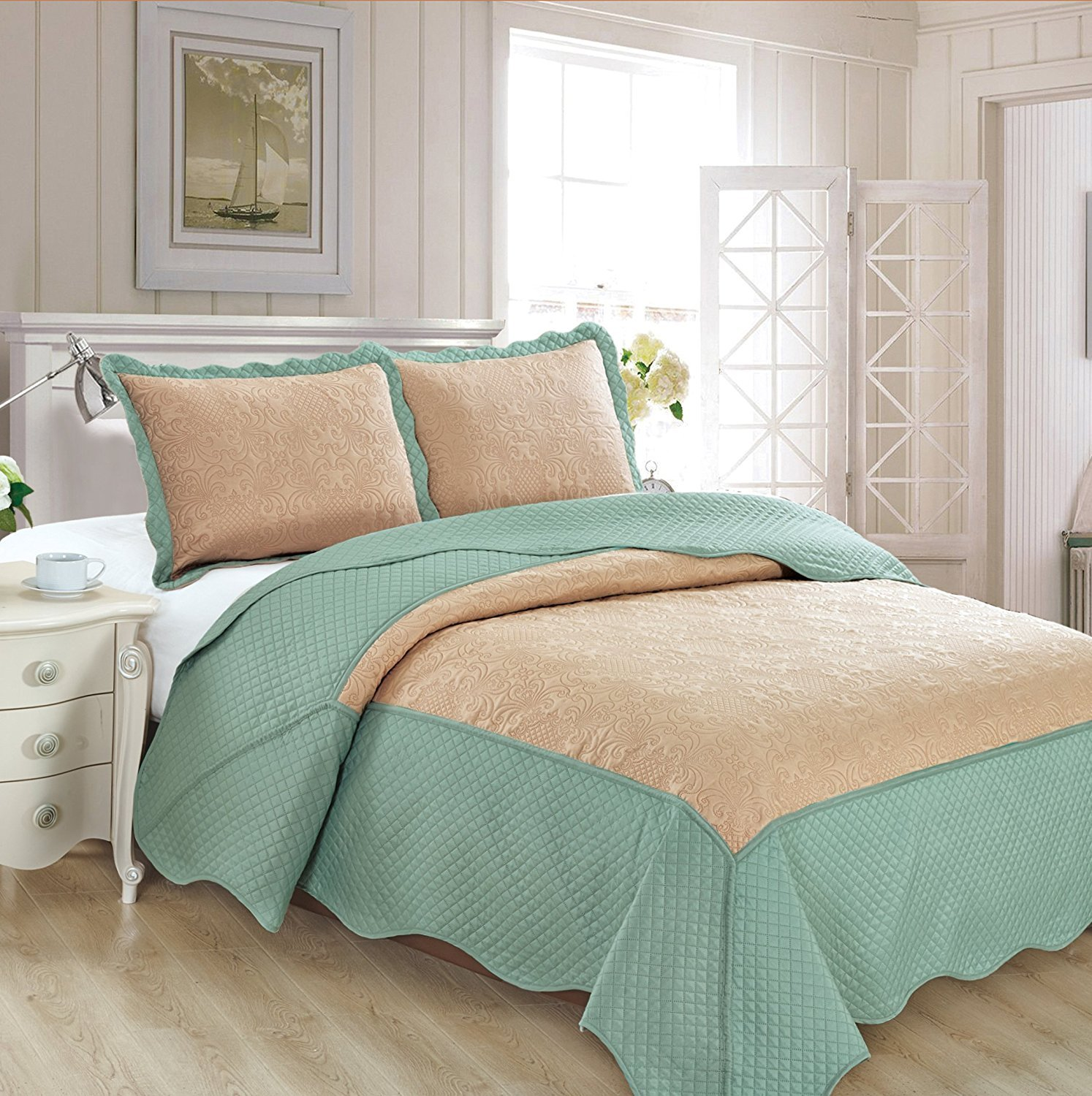 Mk Collection 3pc King/California King Oversize Coverlet Bedspread Set Luxury Embossed Solid Tow Tune Taupe/Spa Blue New