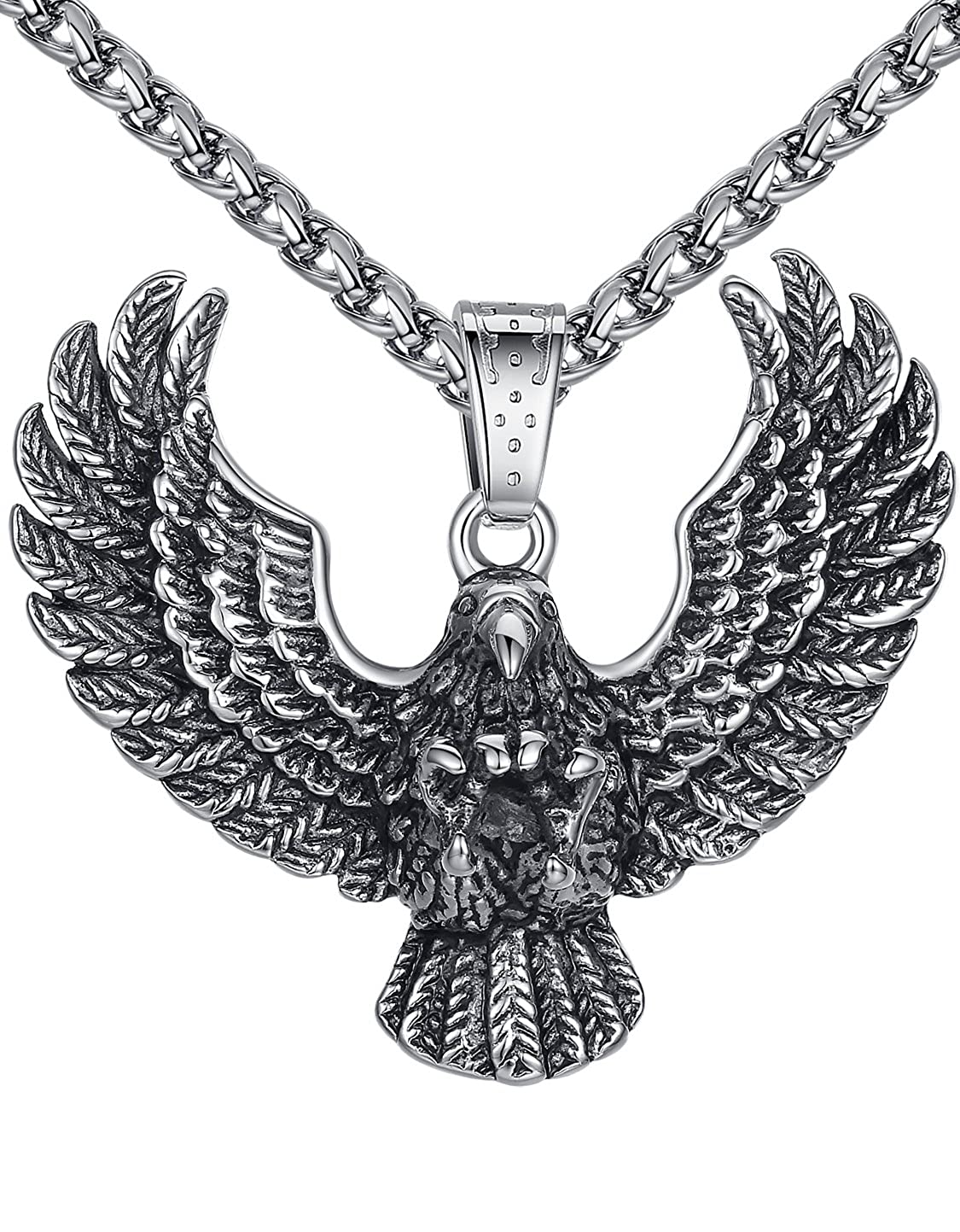 24 Link Chain Aoiy Mens Stainless Steel Large Eagle Biker Pendant Necklace aap131