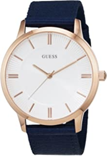Guess Silver Dial Blue Fabric Strap Mens Watch W0795G1