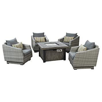 rst brands cannes 5 piece fire chat set charcoal grey - Rst Brands
