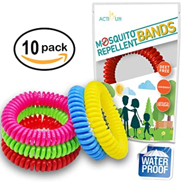 Mosquito Repellent Bracelet Natural Waterproof | 10 Pack | Insect Repellent  Wrist Bands, Safe For