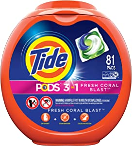 Tide PODS Laundry Detergent Liquid Pacs Tub, Fresh Coral Blast Scent, 3 in 1 HE Turbo, 81 Count