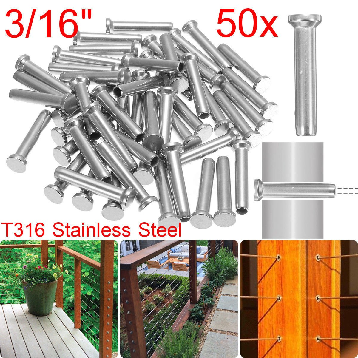 NEW US 50X T316 Stainless Steel Stud Swage Thread Tensioner for 3/16'' Cable Railing
