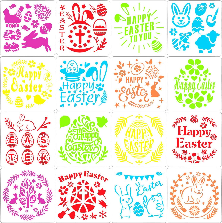 Plantillas de pl/ástica Lavables Plantillas de decoraci/ón de Conejito de Huevos para la celebraci/ón de Pascua Regalos para ni/ños Manualidades Qpout 16x Plantillas de Plantillas de Dibujo de Pascua
