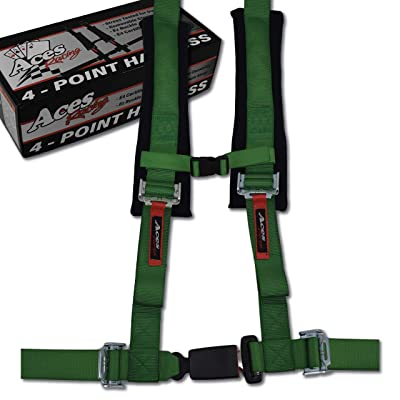 4 Point Harness with 2 Inch Padding (Ez Buckle Technology) (Green): Automotive
