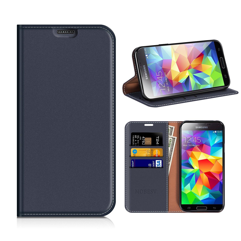 MOBESV Funda Cartera Samsung Galaxy S5, Funda Cuero Movil Samsung S5 Carcasa Case con Billetera/Soporte para Samsung Galaxy S5 / S5 Neo - Azul Oscuro FOX-SGS5-LCS002