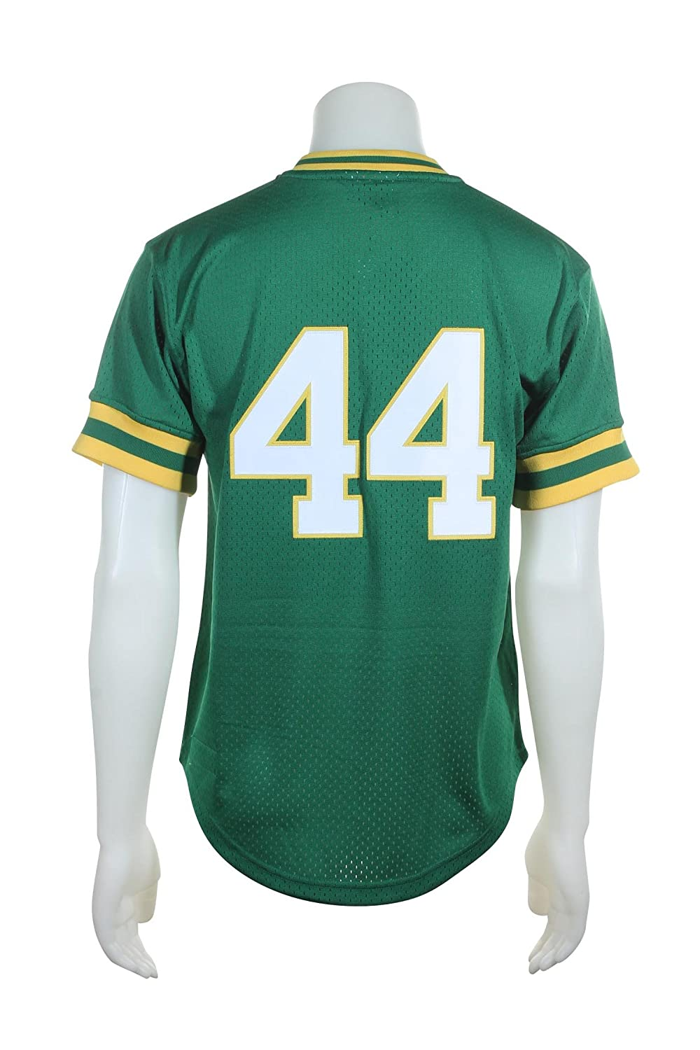 2dc8f4e15 Amazon.com   Mitchell   Ness Oakland Athletics Reggie Jackson Green 1987 Authentic  Batting Practice Jersey   Polo Shirts   Sports   Outdoors
