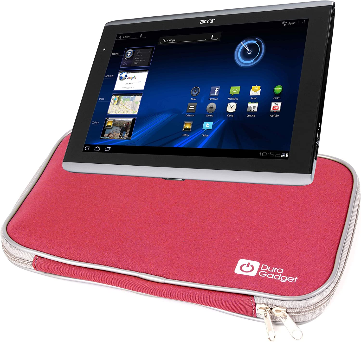 DURAGADGET Red Water and Impact Resistant Carry Case for Acer Aspire ICONIA TAB A500 & A501