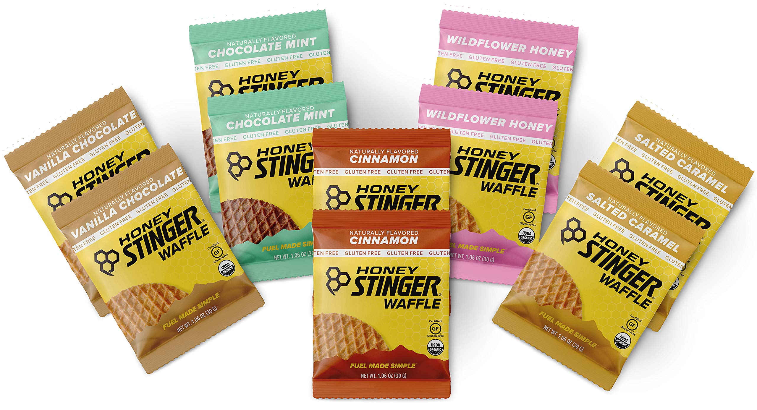 Honey Stinger Gluten Free Waffles - Variety Pack - 10 Count - 2 of Each Flavor - Energy Source for Any Activity - Vanilla & Chocolate, Wildflower Honey, Chocolate Mint, Salted Caramel & Cinnamon by Honey Stinger
