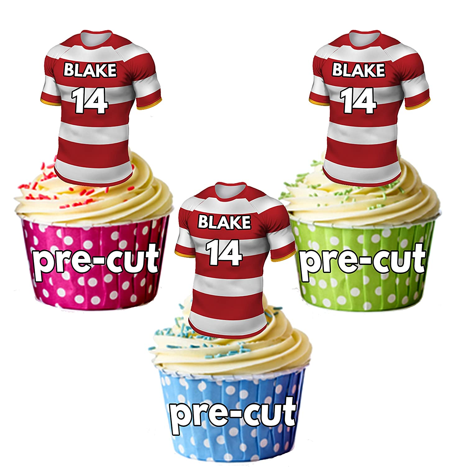 AK Giftshop PRECUT Personalised Rugby Shirts With Your Chosen NAME & NUMBER - Edible Cupcake Toppers/Cake Decorations Wigan Colours (Pack of 12)