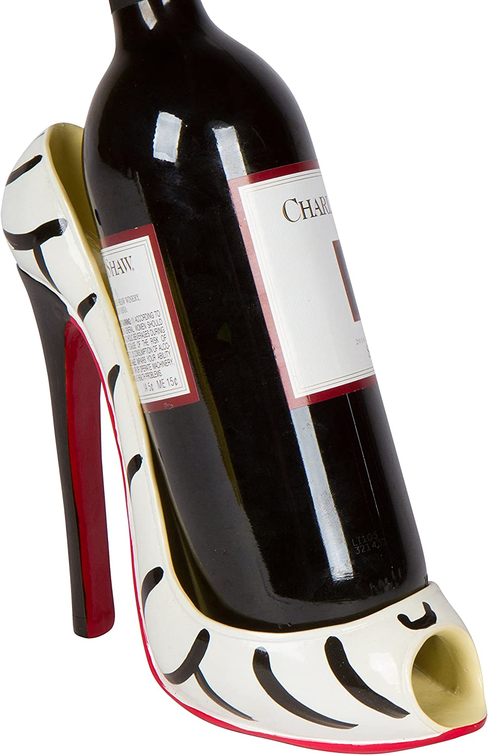 "Hilarious Home 8"" x 7""H High Heel Wine Bottle Holder - Stylish Conversation Starter Wine Rack (Zebra)"