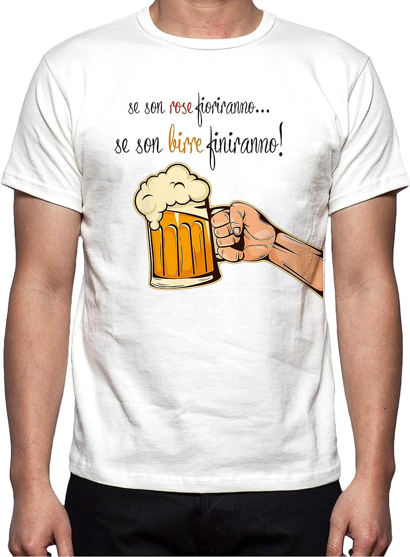 Simpatshirt T Shirt Se Son Rose Fioriranno Se Son Birre Finiranno Amazon It Abbigliamento