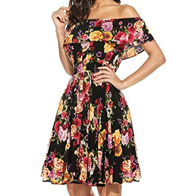 35ada036bc2c ELESOL Womens Flower Print Dress Off Shoulder Ruffle A line Beach ...