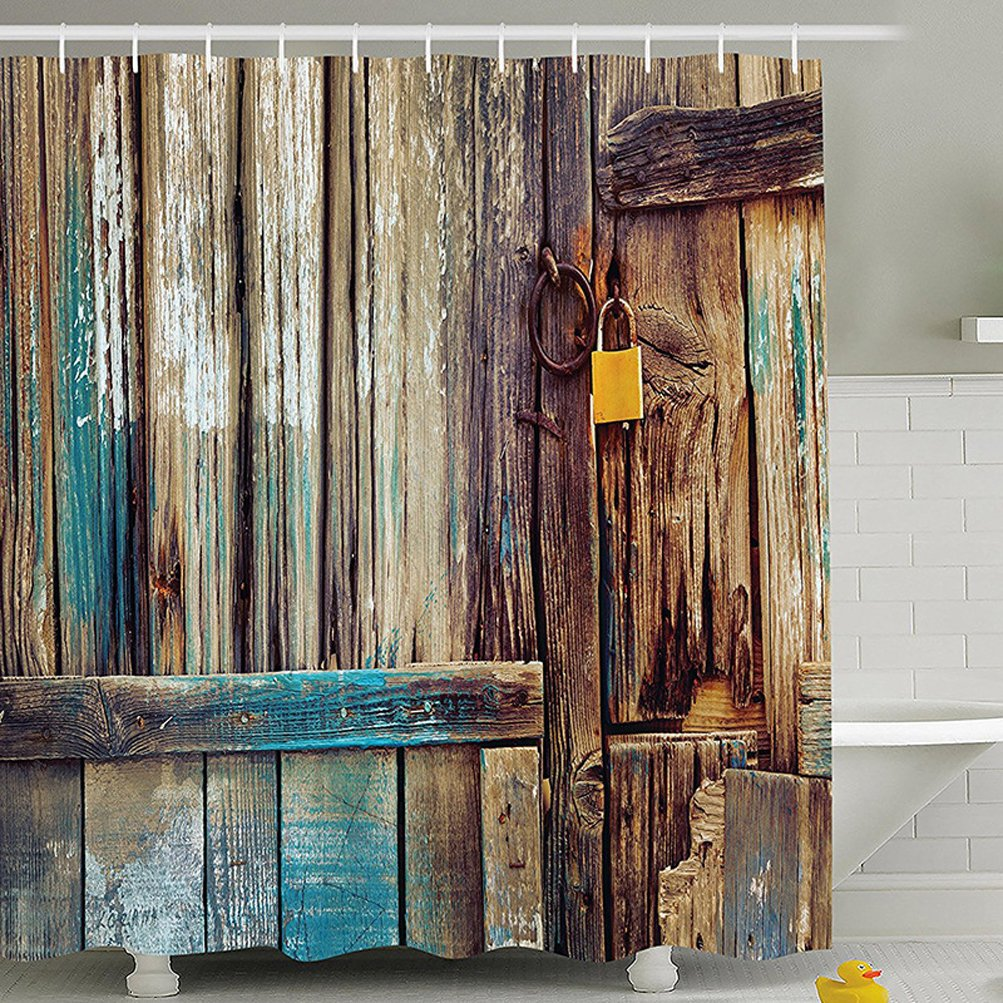 """CDM product YJ Bear Thin Old Wooden Gate Anti-bacterial Bath Decor Waterproof Polyester Mildew Resistant Shower Curtain Home Decoration Bathroon Curtain 71"""" X 71"""" big image"""