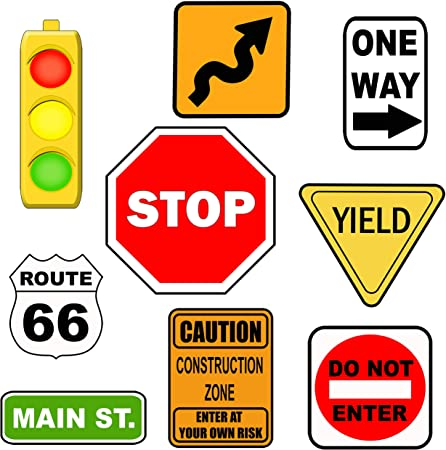 Road Sign Wall Decals Street Sign Wall Decor Stickers Stop Sign One Way Traffic Light Yield Caution Construction Do Not Enter Route 66 Boys Room Decor Fun Decoration For Bedroom Road Sign