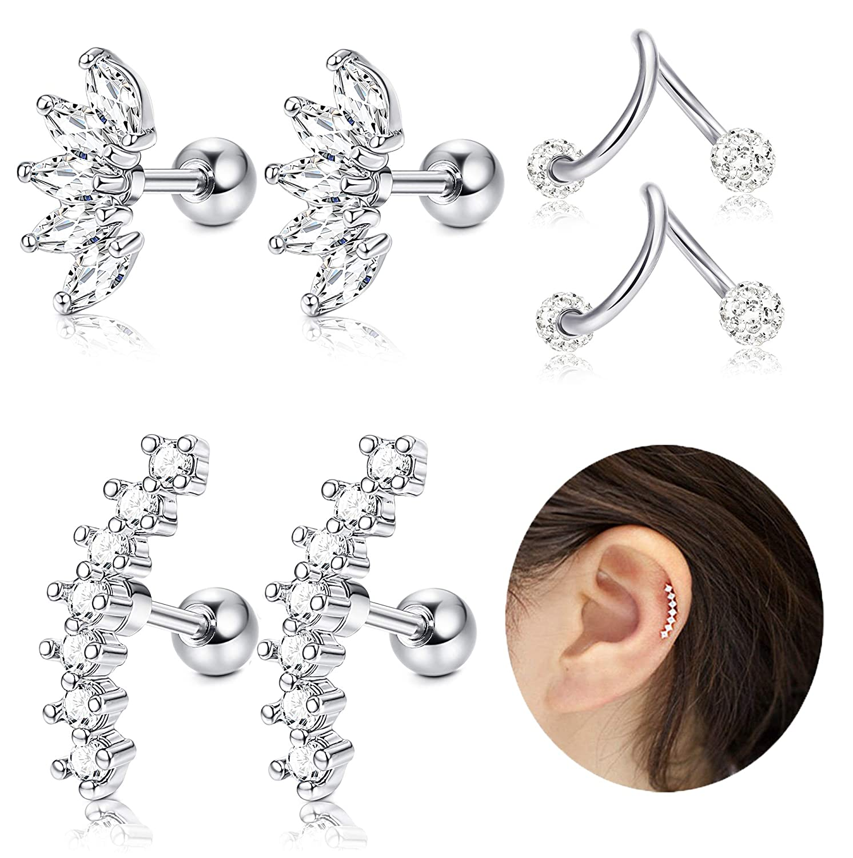 JOERICA 3 Pairs Stainless Steel Silver Ear Cartilage Earrings for Women Girls Tragus Helix Earring Cute Conch Flat Back Piercing Jewelry 16G JAEJ02-3P