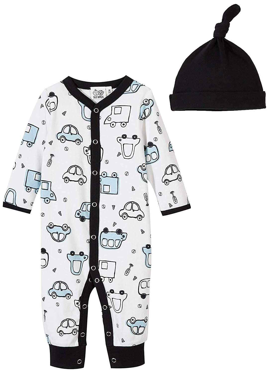 Silly Apples Baby Toddler Boys or Girls Fall Outfit 2-Piece Long-Sleeve Romper Jumpsuit Onesies and Hat Set