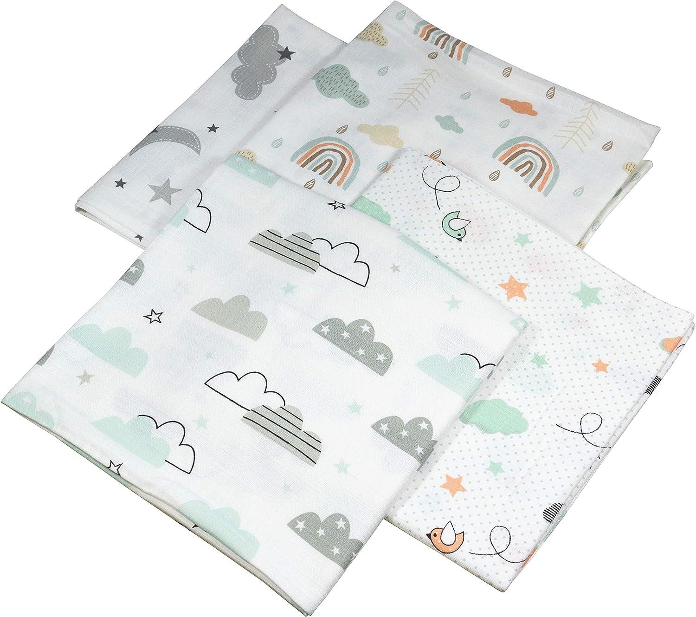 Wolken Lot de 4 langes en mousseline unisexe 120 x 120 cm