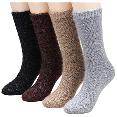 4 Pairs Women Super Warm Thick Shimmery Knitted Winter Crew Boot Socks,5-10 A85