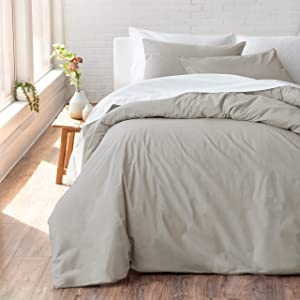 Welhome Cozy 100% Cotton Percale Washed Reversible Duvet Cover Set   King Size (Castlerock)   108