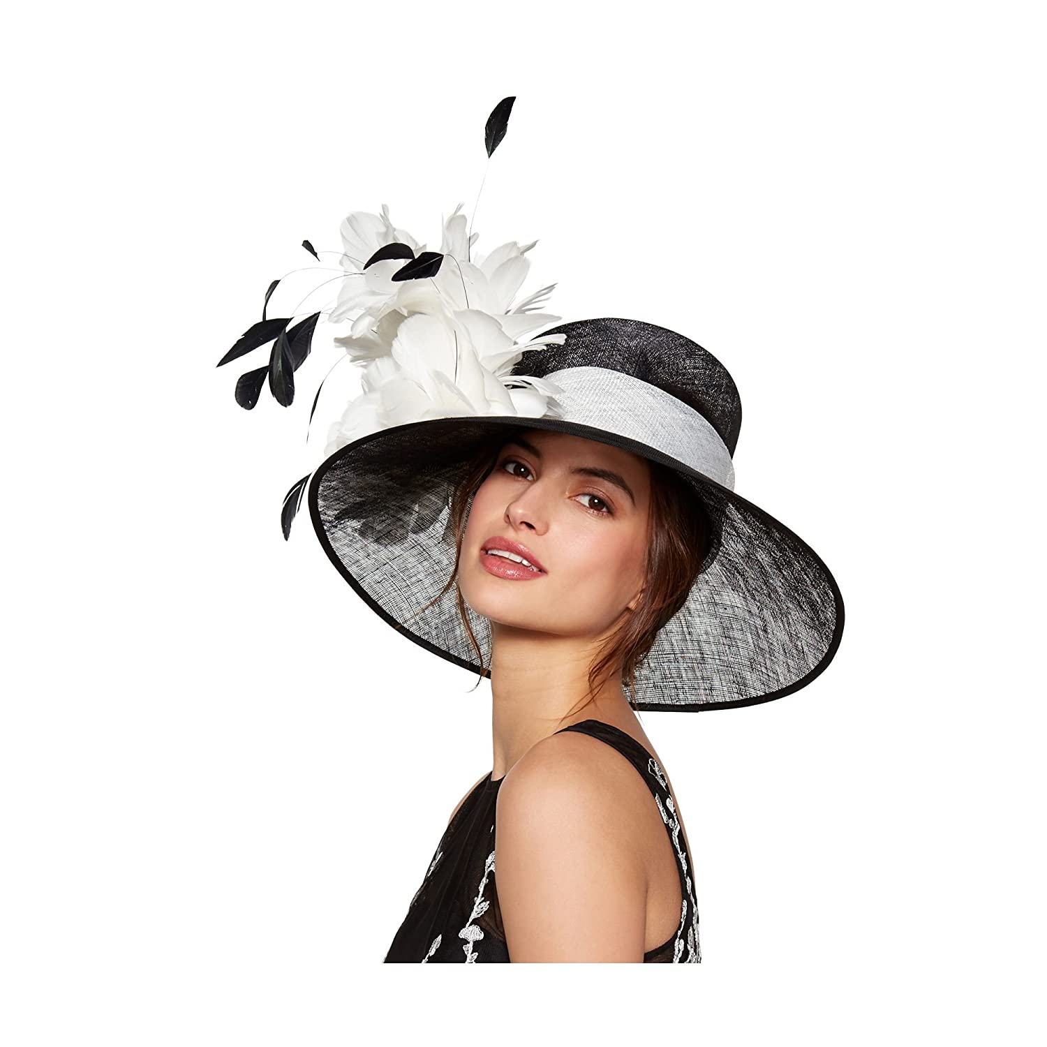 Debut Womens Black Feather Trumpet Hat