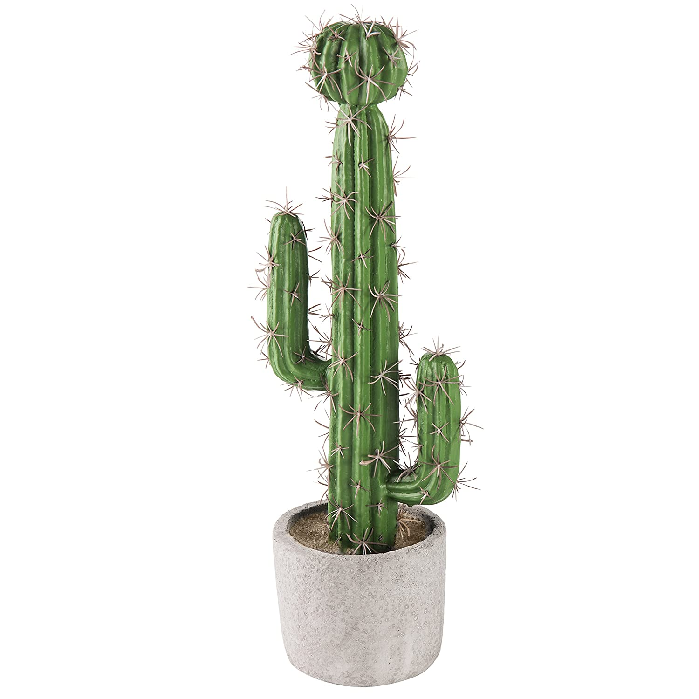 MyGift 13-inch Artificial Saguaro Cactus in Cement Planter Pot